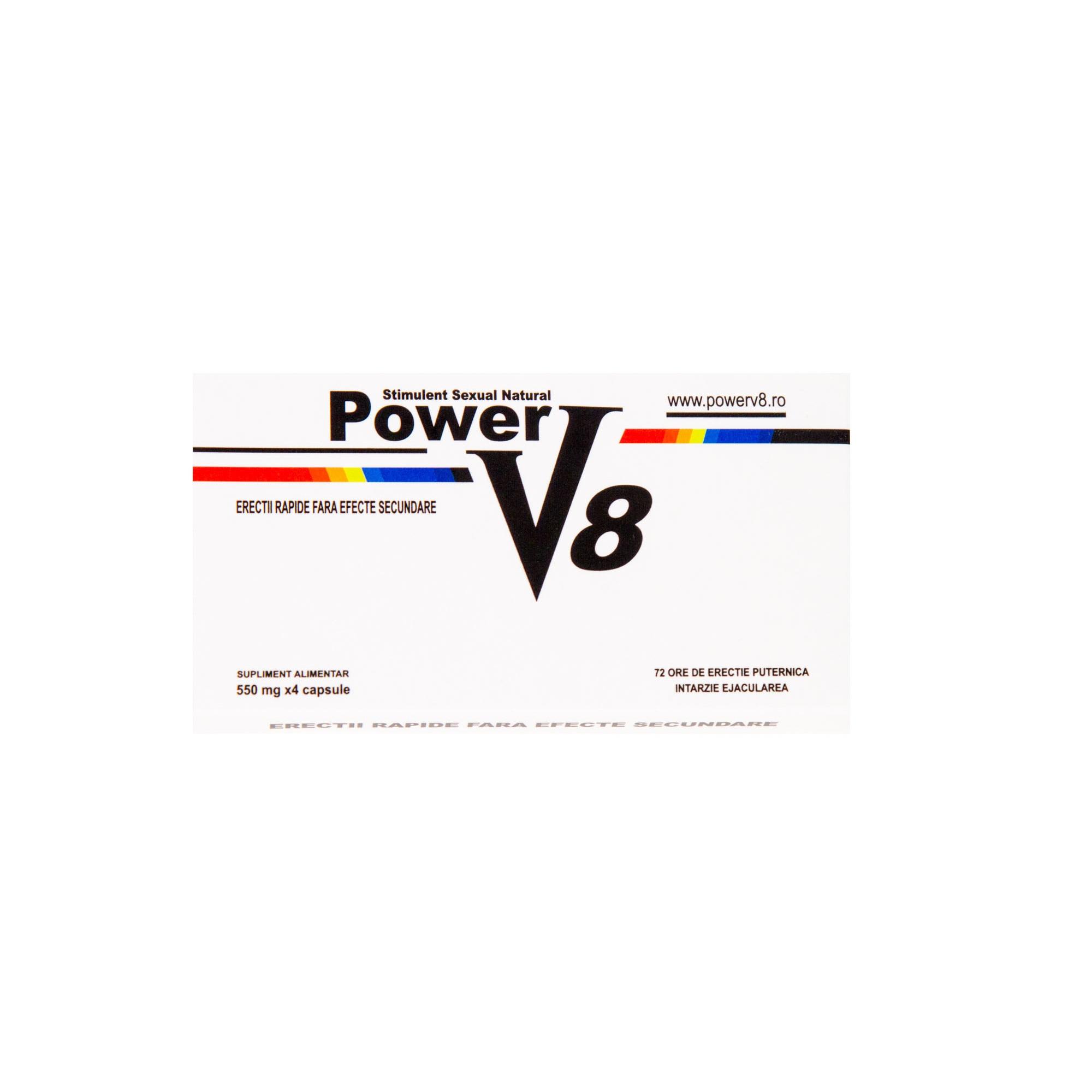 Power V8, Pastile Pentru Potenta Si Erectie, Produs % Natural, 4 Capsule - bogdanbarabas.ro